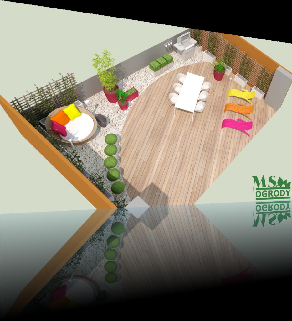 Aranżacja tarasu - wizualizacje ogrodów - projektowanie ogrodów łódzkie - MS Ogrody Łódź